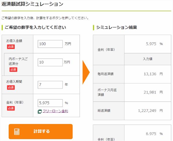 三井住友銀行フリーローン返済シミュレーションキャプチャ
